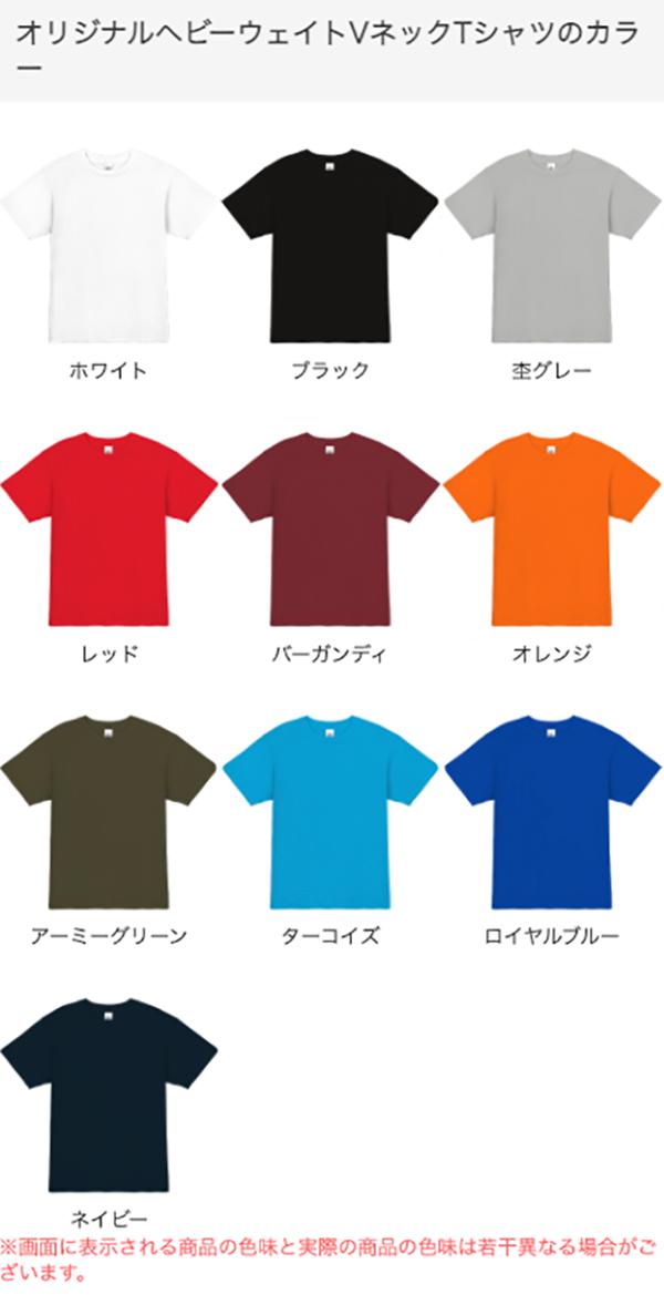 ヘビーウェイトVネックTシャツのカラー