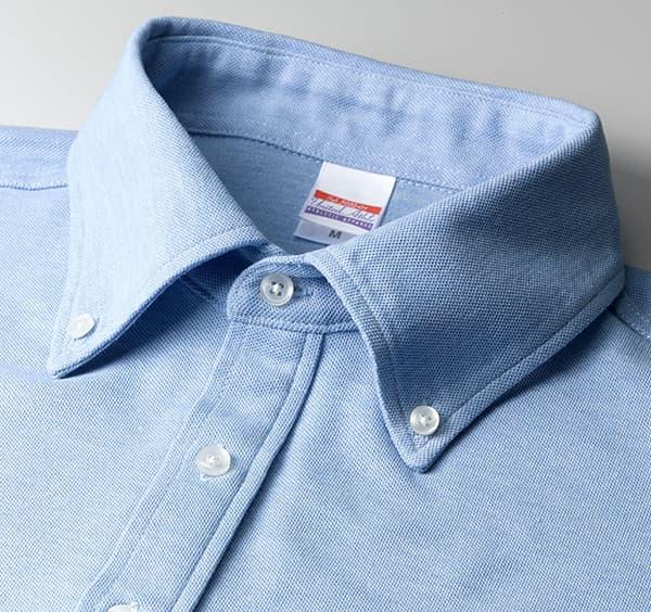 ドライカノコユーティリティーボタンダウンポロシャツの襟周り