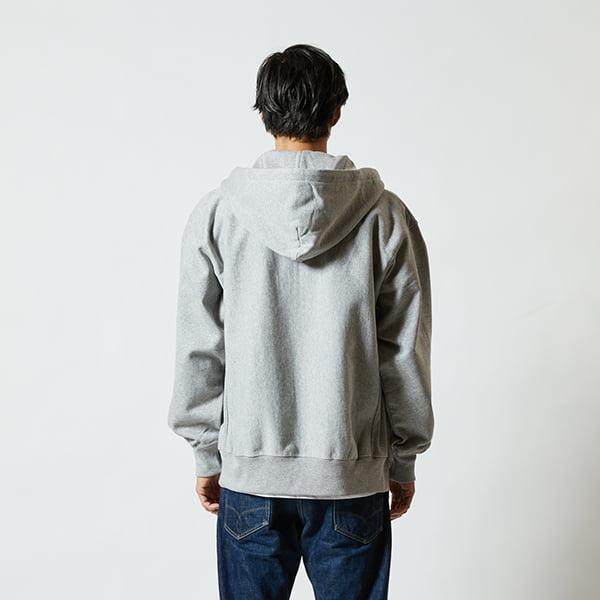 モデル身長182㎝/XLサイズ/ミックスグレー着用/背面シルエット