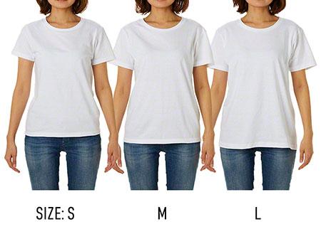 プライムレディースTシャツのサイズ比較(モデル身長163cm)