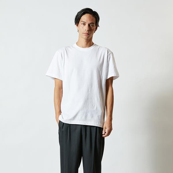 モデル身長182㎝/Lサイズ/ホワイト着用/正面シルエット