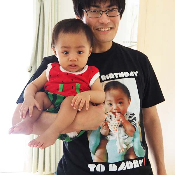 息子の写真でTシャツをプリントしました