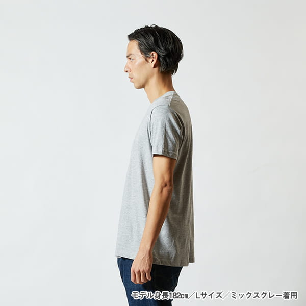 モデル身長182㎝/Lサイズ/ミックスグレー 着用/サイドシルエット