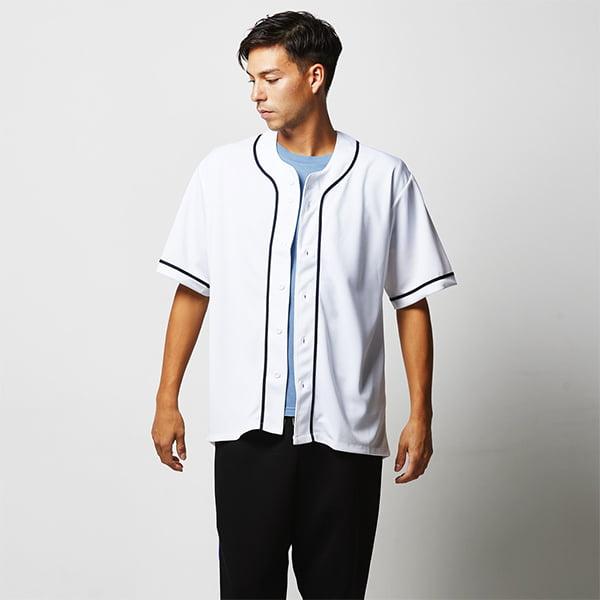 モデル身長182㎝/Lサイズ/ホワイト・ネイビー着用/正面シルエット