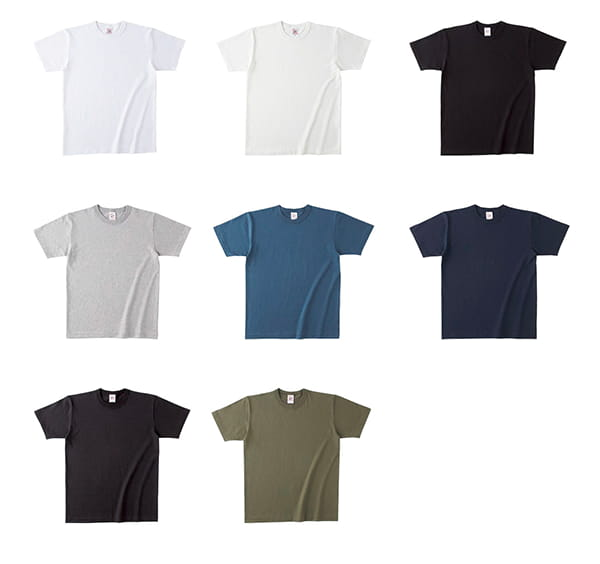 オープンエンドマックスウェイトバインダーネックTシャツのカラー展開