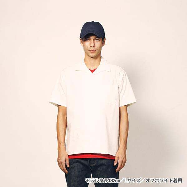 モデル身長182㎝/Lサイズ/オフホワイト 着用/正面シルエット