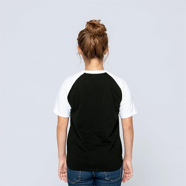 モデル身長161㎝/Sサイズ/ブラック×ホワイト着用/背面シルエット