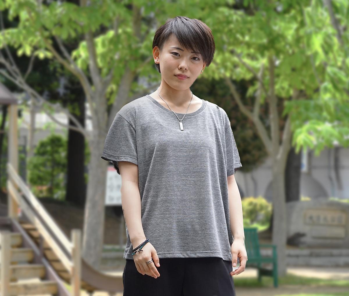 女性Mサイズ着用イメージ ヘザーブラック
