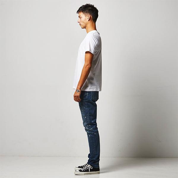 モデル身長182㎝/Mサイズ/ホワイト着用/サイドシルエット