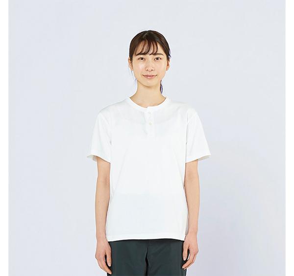 ヘビーウェイトヘンリーネックTシャツの着用正面_女性