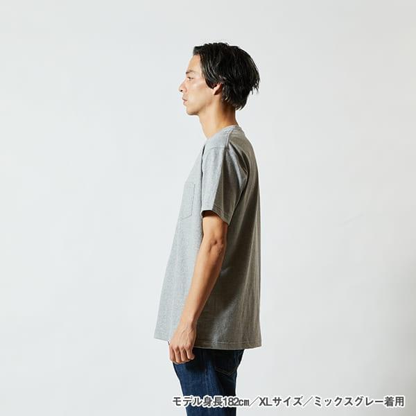 モデル身長182㎝/XLサイズ/ミックスグレー 着用/サイドシルエット