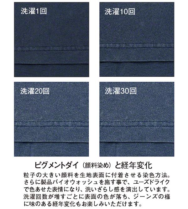ピグメントダイTシャツの経年変化