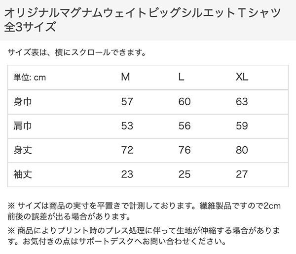 マグナムウェイトビッグシルエットTシャツのサイズ表