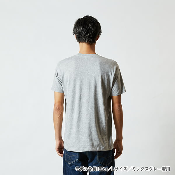モデル身長182㎝/Lサイズ/ミックスグレー 着用/背面シルエット