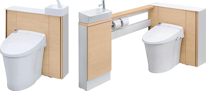 手洗器をコーナーに配置したI型と、サイドカウンター部分に配置したL型の2種類から選べる。