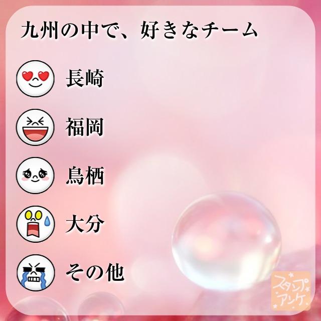 「九州の中で、好きなチーム」と言う質問、ハートスタで「長崎」と言う回答、笑いスタで「福岡」と言う回答、照れスタで「鳥栖」と言う回答、驚きスタで「大分」と言う回答、泣きスタで「その他」と言う回答のスタンプアンケ画像