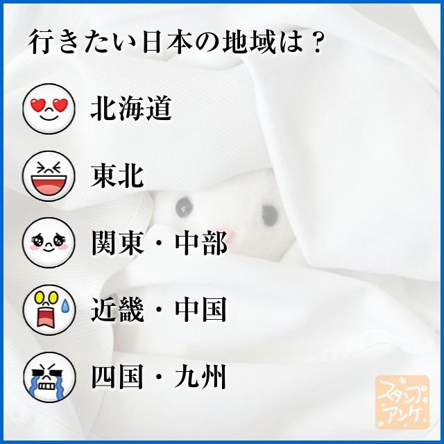 「行きたい日本の地域は?」と言う質問、ハートスタで「北海道」と言う回答、笑いスタで「東北」と言う回答、照れスタで「関東・中部」と言う回答、驚きスタで「近畿・中国」と言う回答、泣きスタで「四国・九州」と言う回答のスタンプアンケ画像