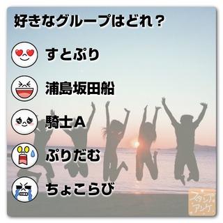「好きなグループはどれ?」という質問のスタンプアンケ画像