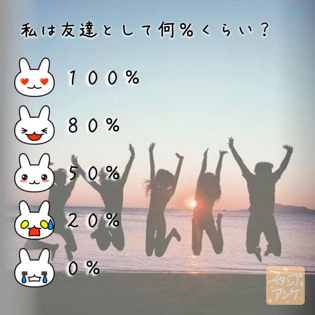「私は友達として何%くらい?」と言う質問、ハートスタで「100%」と言う回答、笑いスタで「80%」と言う回答、照れスタで「50%」と言う回答、驚きスタで「20%」と言う回答、泣きスタで「0%」と言う回答のスタンプアンケ画像