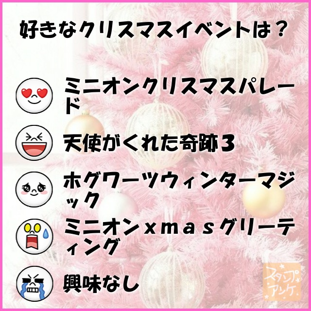 「好きなクリスマスイベントは?」と言う質問、ハートスタで「ミニオンクリスマスパレード」と言う回答、笑いスタで「天使がくれた奇跡3」と言う回答、照れスタで「ホグワーツウィンターマジック」と言う回答、驚きスタで「ミニオンxmasグリーティング」と言う回答、泣きスタで「興味なし」と言う回答のスタンプアンケ画像
