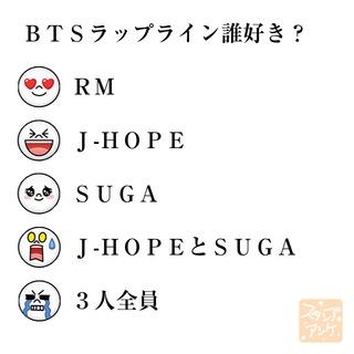 「BTSラップライン誰好き?」という質問のスタンプアンケ画像