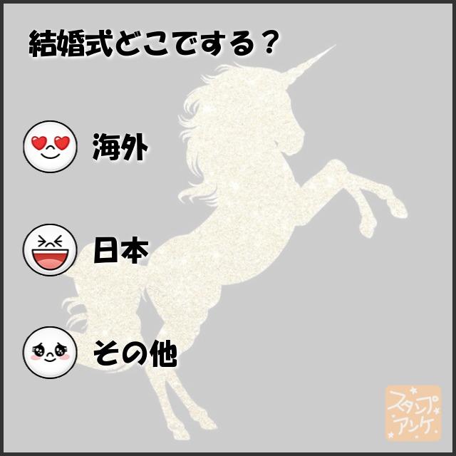 「結婚式どこでする?」と言う質問、ハートスタで「海外」と言う回答、笑いスタで「日本」と言う回答、照れスタで「その他」と言う回答のスタンプアンケ画像
