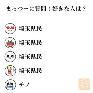 「まっつーに質問!好きな人は?」という質問のスタンプアンケ画像