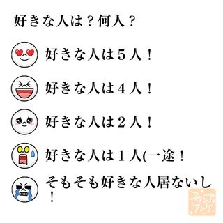 「好きな人は?何人?」という質問のスタンプアンケ画像