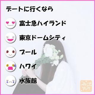 「デートに行くなら」という質問のスタンプアンケ画像