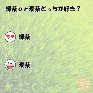 「緑茶or麦茶どっちが好き?」という質問のスタンプアンケ画像