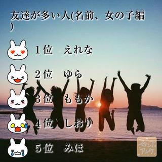 「友達が多い人(名前、女の子編)」という質問のスタンプアンケ画像