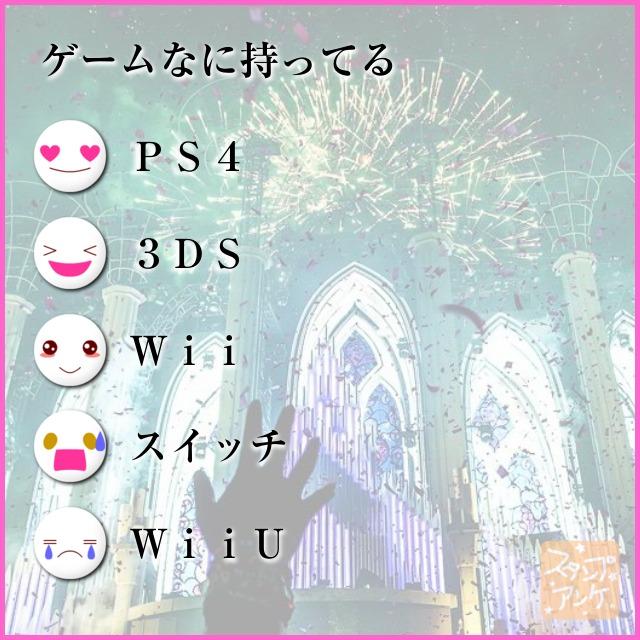 「ゲームなに持ってる」と言う質問、ハートスタで「PS4」と言う回答、笑いスタで「3DS」と言う回答、照れスタで「Wii」と言う回答、驚きスタで「スイッチ」と言う回答、泣きスタで「WiiU」と言う回答のスタンプアンケ画像