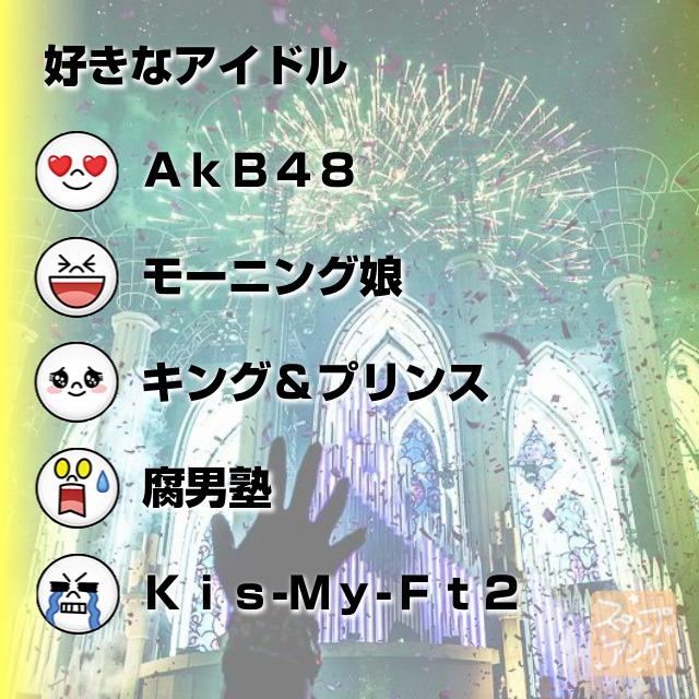 「好きなアイドル」と言う質問、ハートスタで「AkB48」と言う回答、笑いスタで「モーニング娘」と言う回答、照れスタで「キング&プリンス」と言う回答、驚きスタで「腐男塾」と言う回答、泣きスタで「Kis-My-Ft2」と言う回答のスタンプアンケ画像