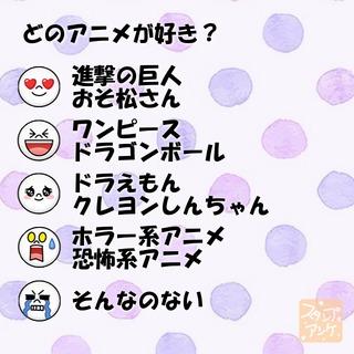 「どのアニメが好き?」という質問のスタンプアンケ画像