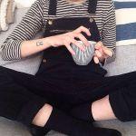 【黒サロペットのコーデ】人気のサロペットの黒が欲しいっ☆のサムネイル画像