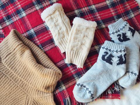 ニット 靴下 手袋 冬 ストール