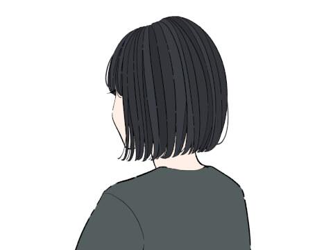 ミディアムボブ 前下がり 黒髪