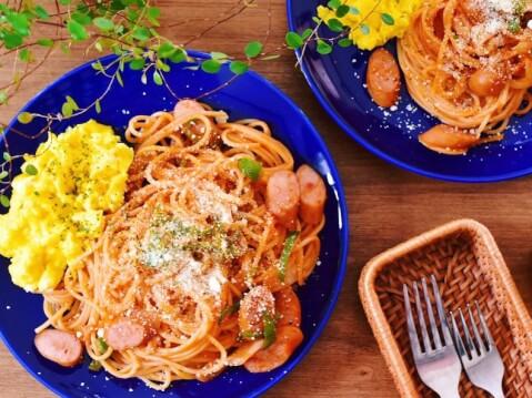 パスタ 青い皿 おうちカフェ
