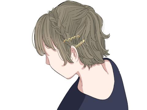 三つ編み ピン留め アレンジ ショートヘア