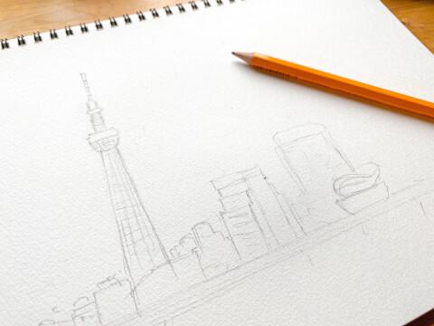 鉛筆 風景 イラスト 水彩画 下絵 スカイツリー