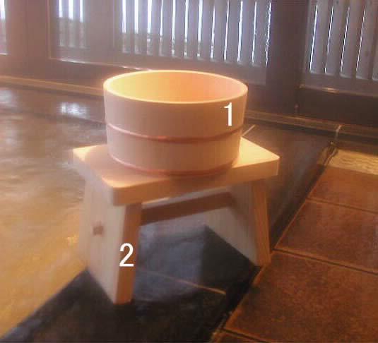 木曽ひのき湯桶・椅子 2点セット
