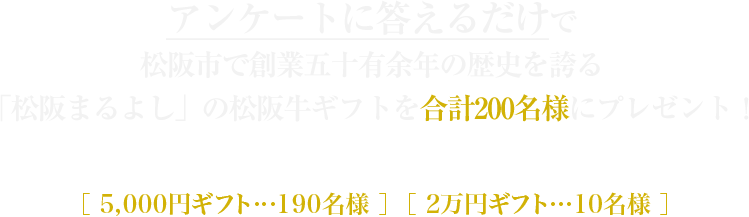 アンケートに答えるだけで松阪市で創業五十有余年の歴史を誇る「松阪まるよし」の松阪牛ギフトを合計200名様にプレゼント!