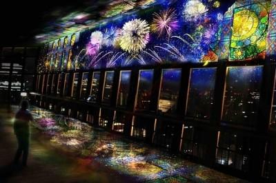 東京鐵塔展望台光雕投影,結合電子煙火+夜景