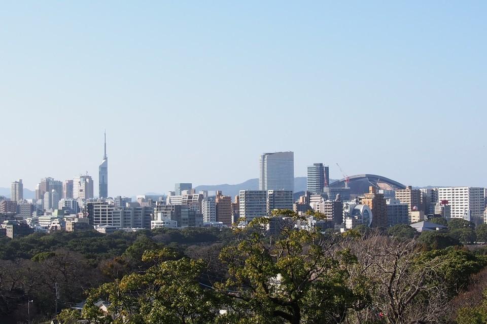 福岡城天守台跡の展望台からの景色