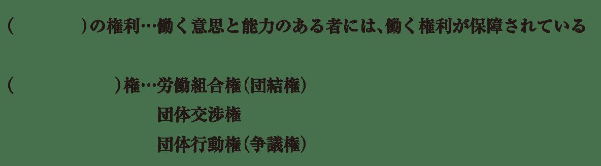 中学公民11 練習2 勤労の権利と労働基本権の項目のみ表示、カッコ空欄