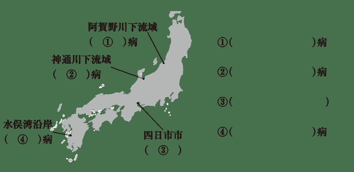 中学公民41 練習1,地図+①~④の解答欄のみ表示(image02部分不要),かっこ空欄