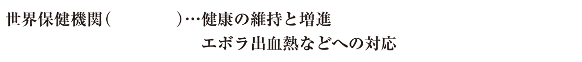中学公民46 練習1,image03の続き,3行目のみ表示(WHO),かっこ空欄