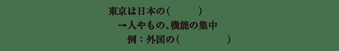 中学地理73 練習、地図不要、地図の下にあるテキスト1~3行目(東京は日本の首都~大使館)のみ表示、かっこ空欄