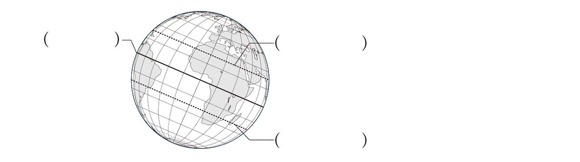 中学地理3 練習1 下の3つの図のうち、下1つのみ表示、カッコ空欄