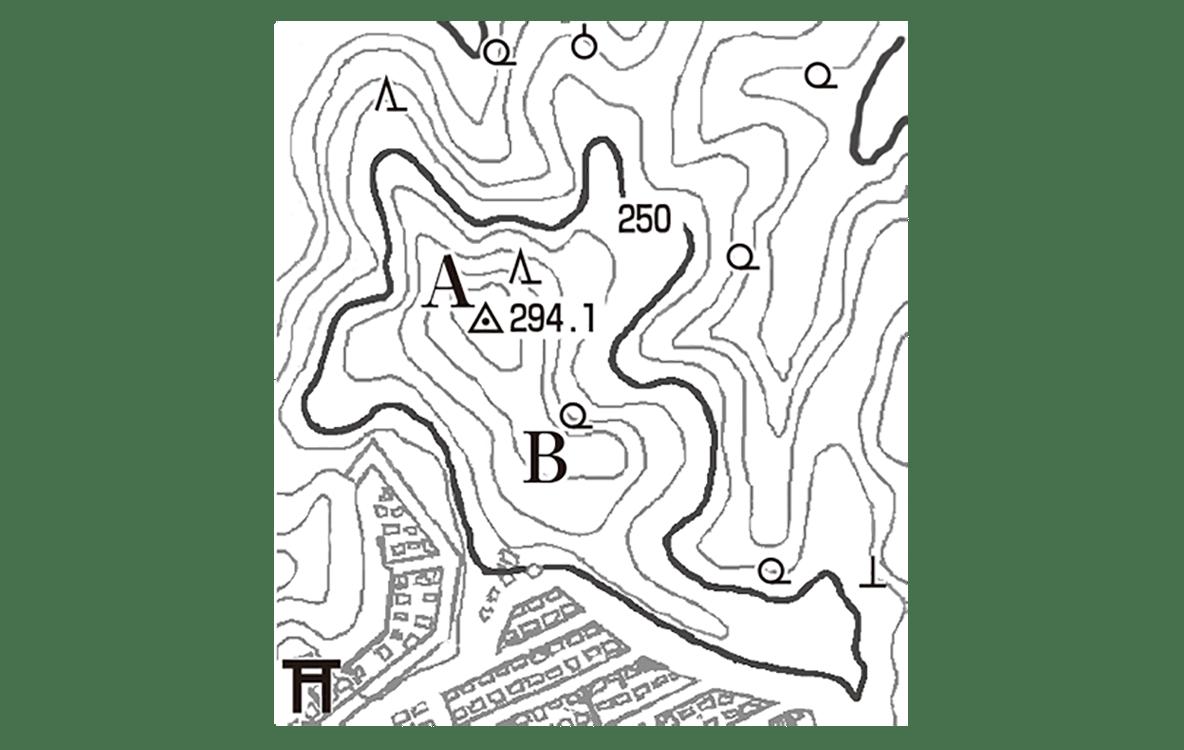 中学地理80 右頁の練習2 左側の地形図のみ表示、小さいので拡大してください